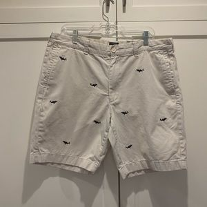Good condition J. Crew shark-embroidered shorts